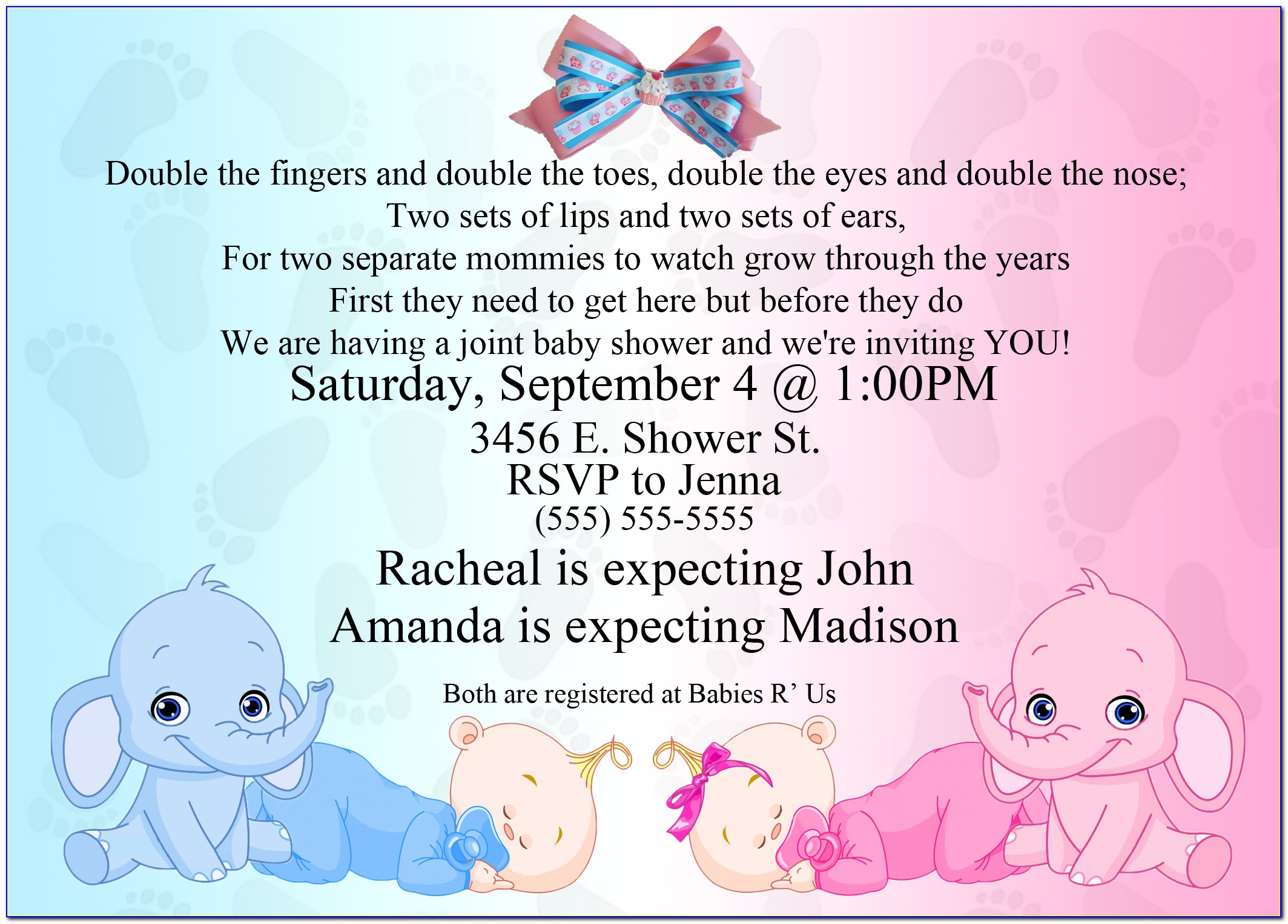 Twins Baby Shower Invitations Templates Editable
