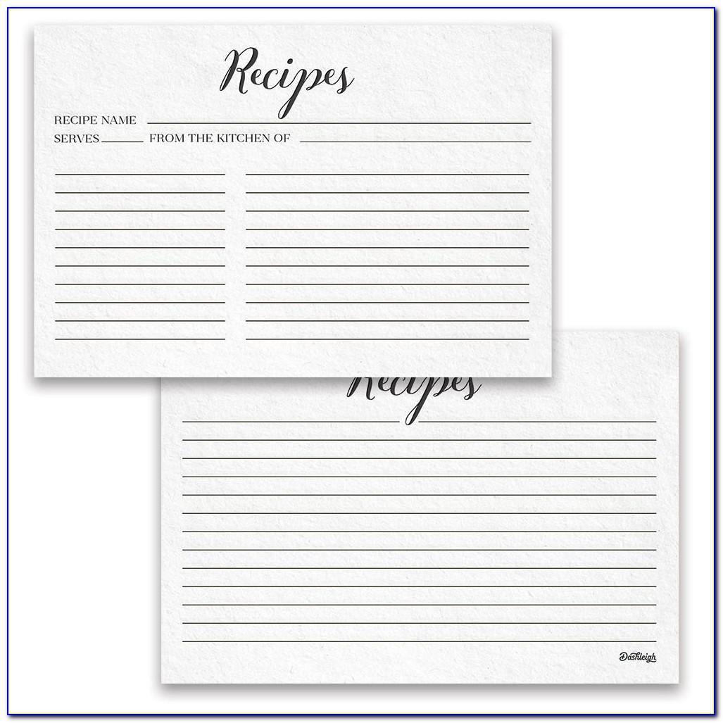 Two Sided Recipe Card Template