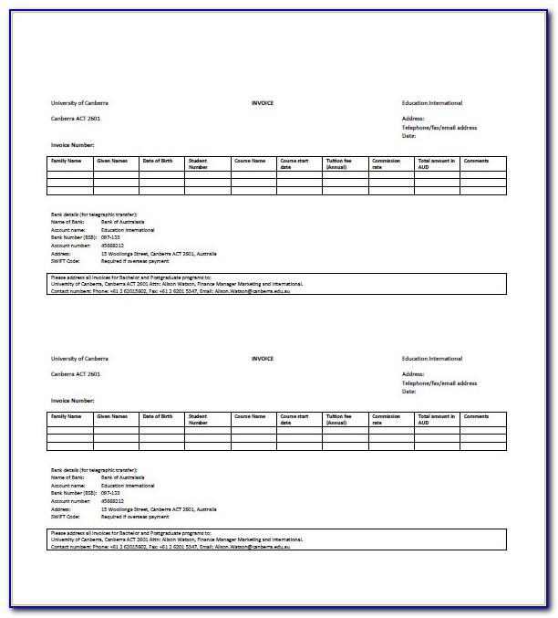 University Invoice Template