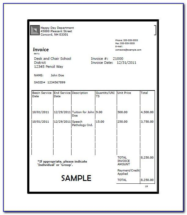 University Tuition Invoice Template