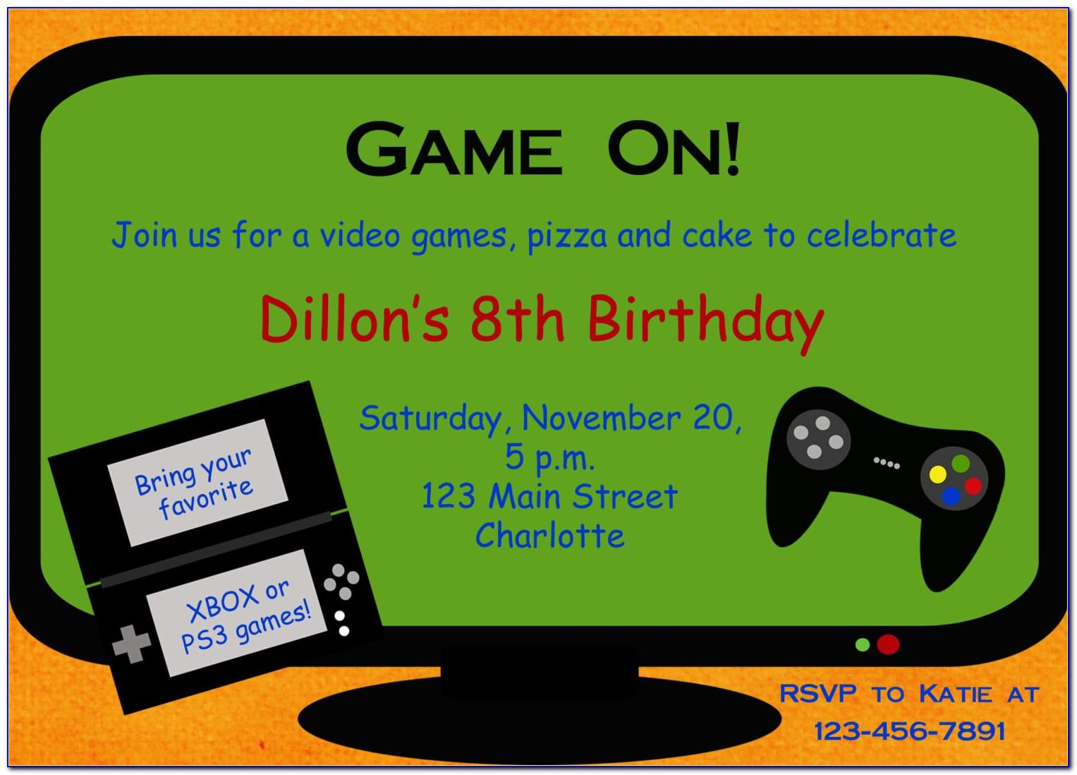Video Game Invitation Template Free