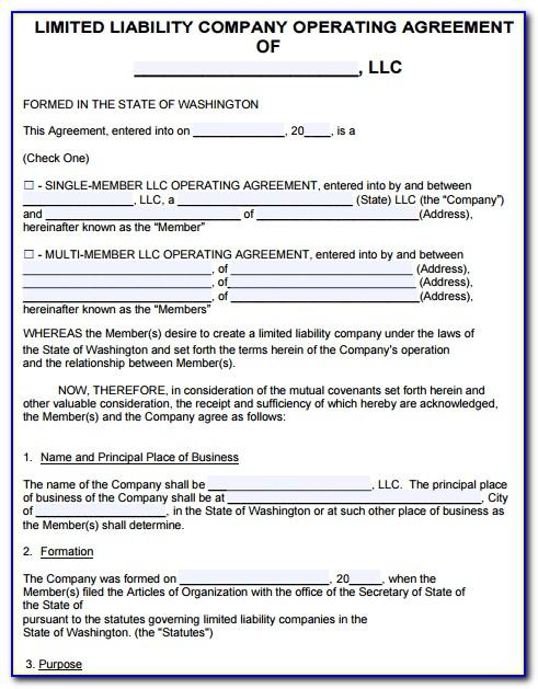 Washington State Llc Operating Agreement Template