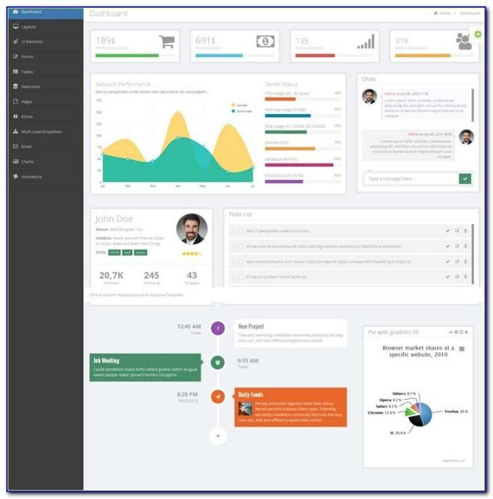 Web Dashboard Templates Free Download
