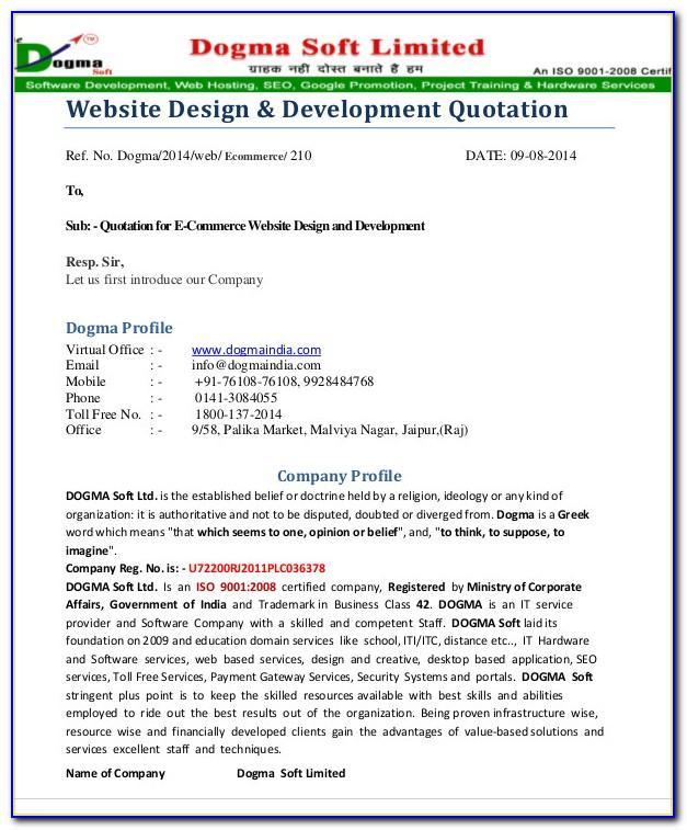 Website Development Quotation Sample Doc