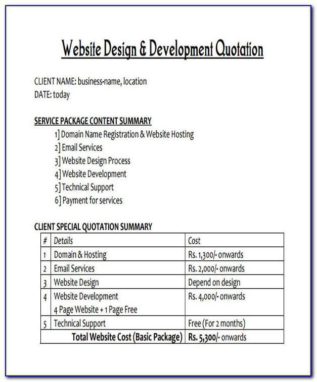 Website Quotation Sample Doc Format