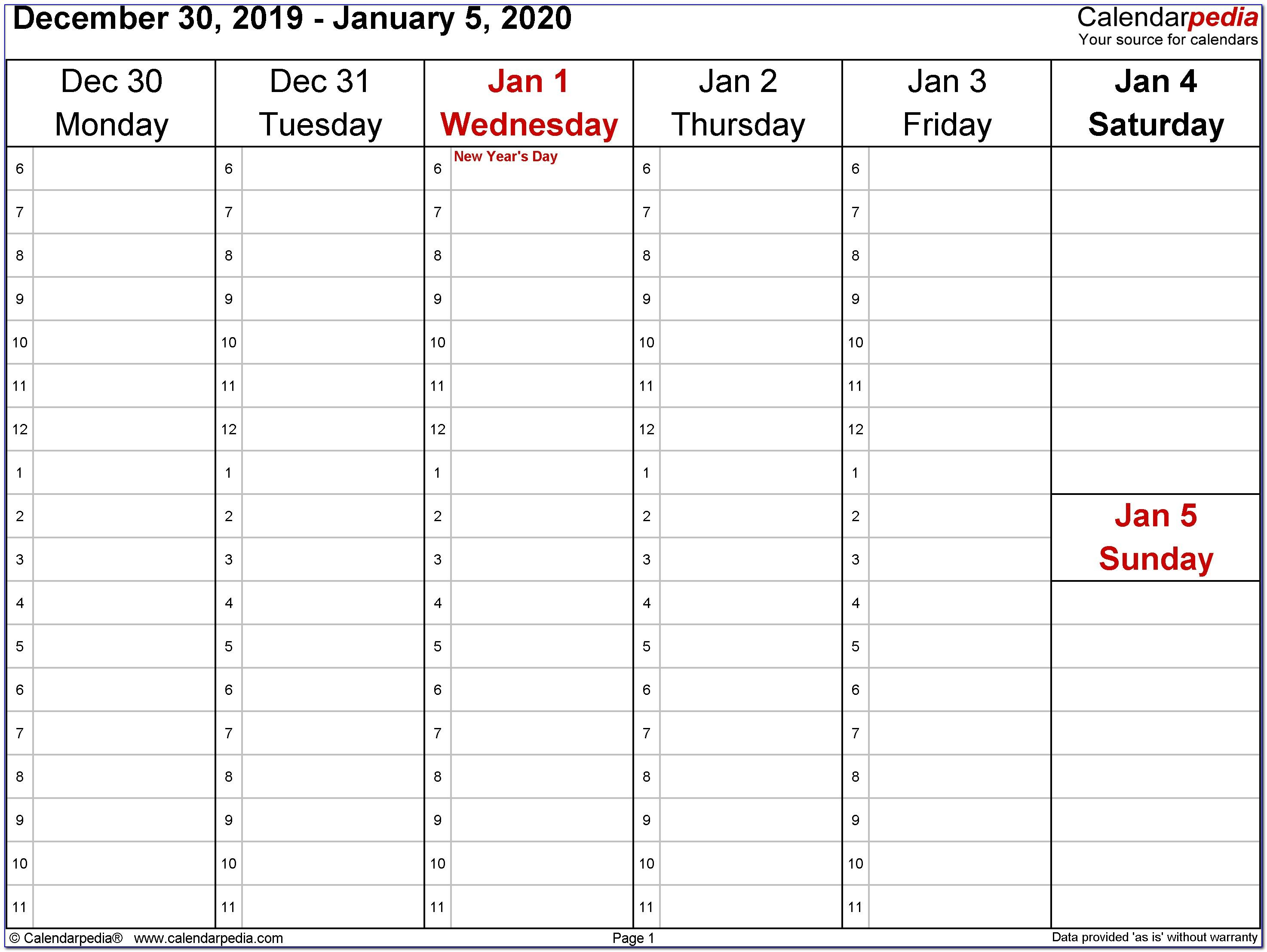 Weekly Appointment Calendar Template 2019