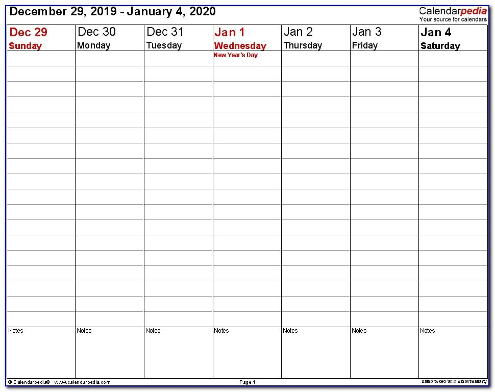 Weekly Appointment Calendar Template 2020