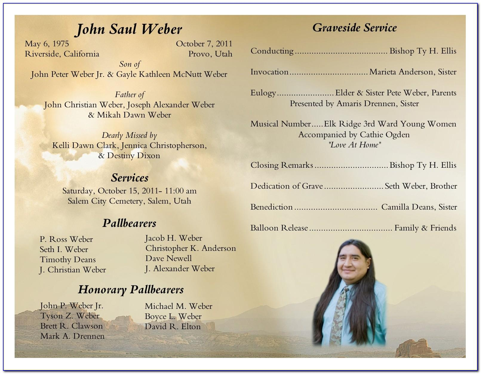 Word Template For Memorial Service Program