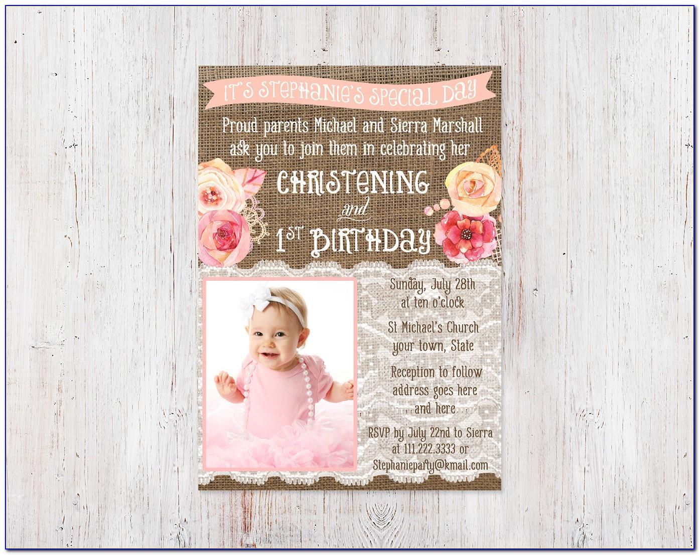 1st Birthday And Christening Invitation Templates
