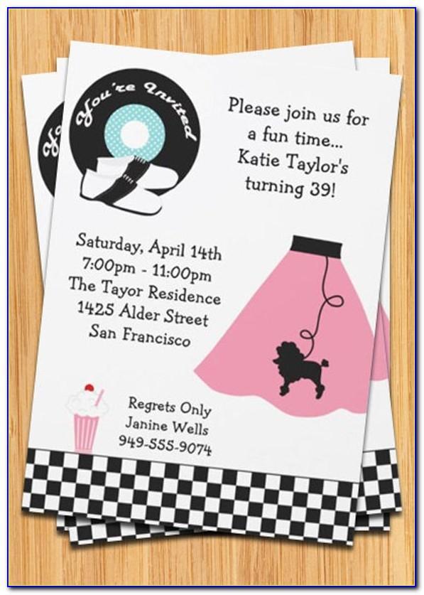 50's Theme Party Invitation Templates Free