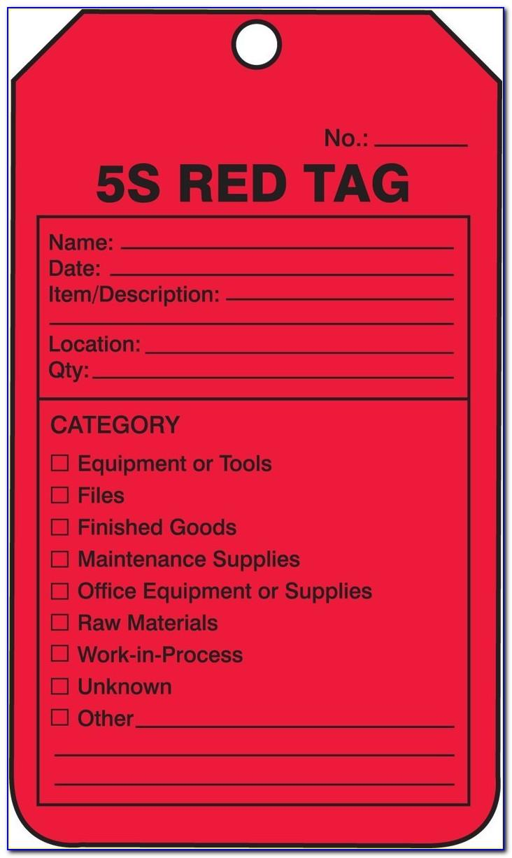 5s Red Tag Log Template