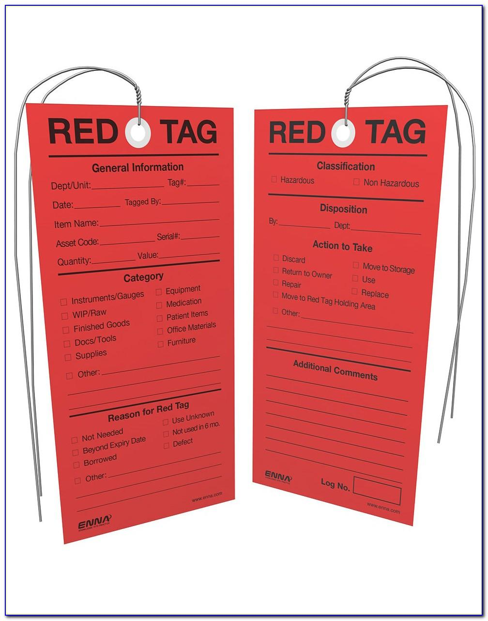 5s Red Tag Register Template