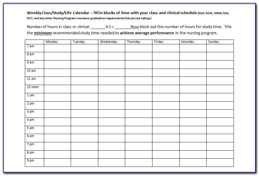 6 Week Nurse Schedule Template