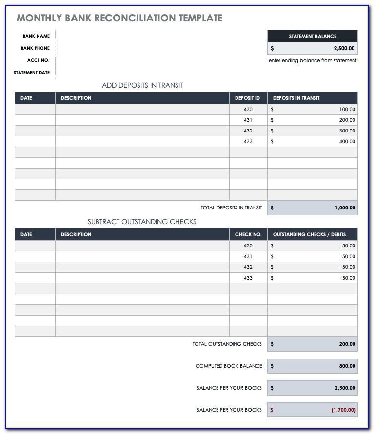Account Reconciliation Form Excel