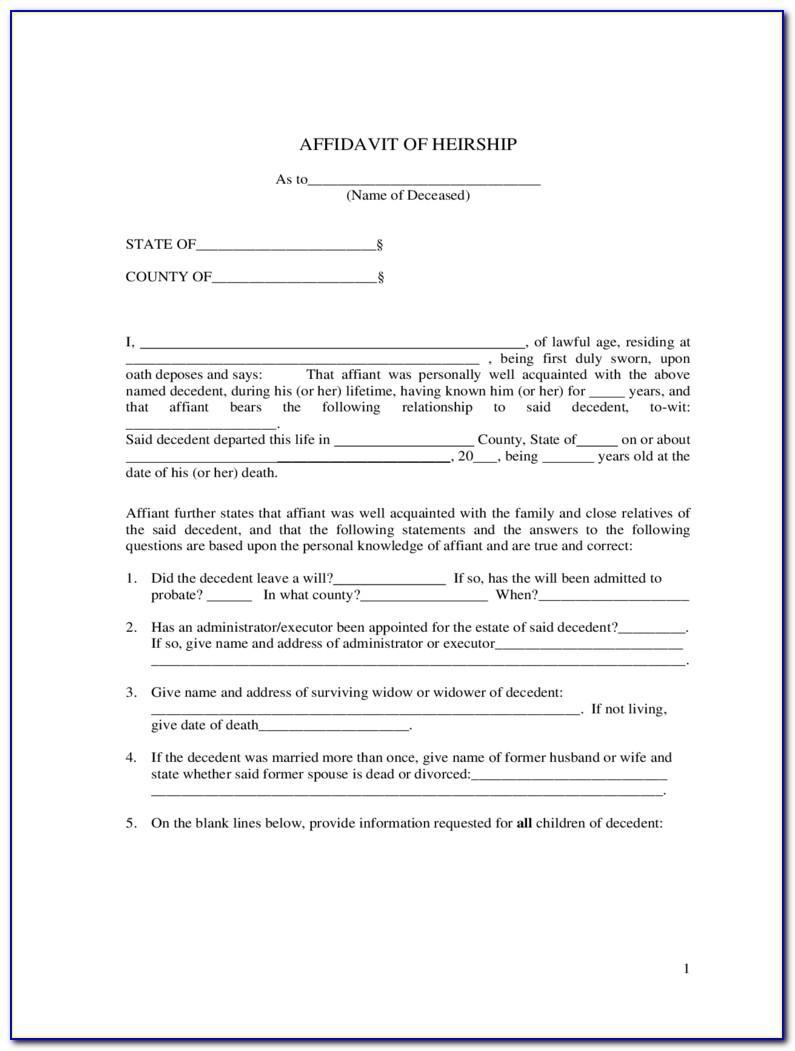 Affidavit Of Heirship Template Texas