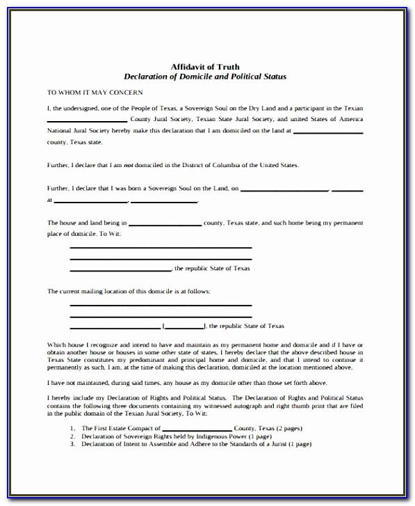 Affidavit Of Service Template Texas