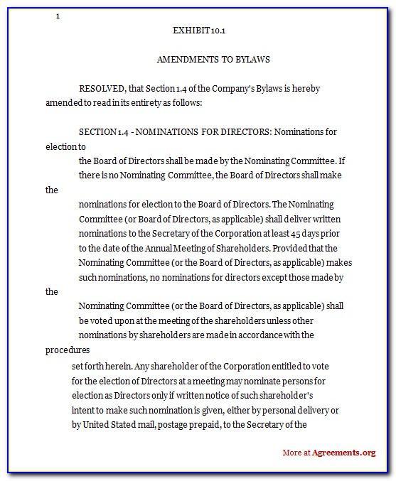 Amendment To Bylaws Form