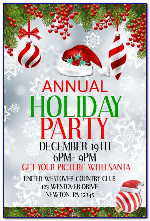 Annual Holiday Party Invitation With Ornaments And Blue Ribbon Template