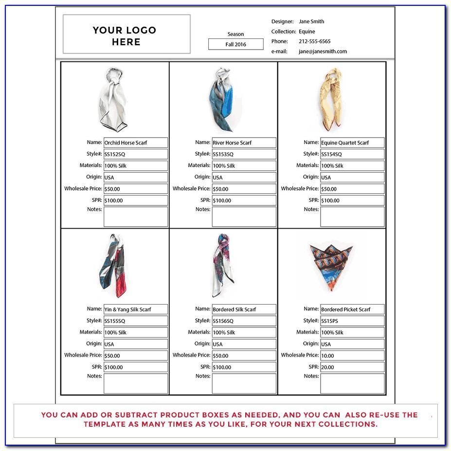 Apparel Line Sheet Template
