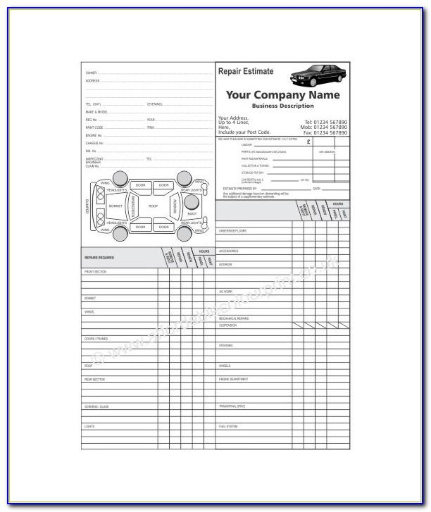 Auto Body Estimate Forms Free