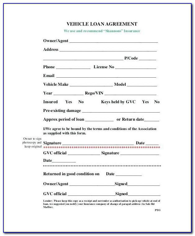 Auto Loan Contract Template Word
