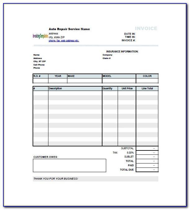 Auto Mechanic Invoice Template Free