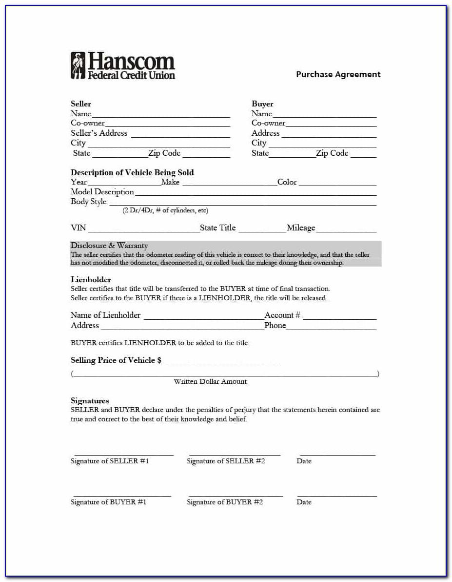 Auto Purchase Agreement Template Word