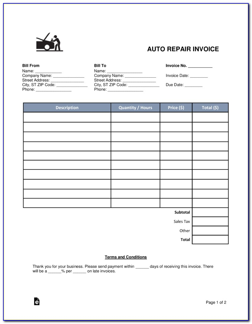 Auto Repair Invoice Fillable Pdf