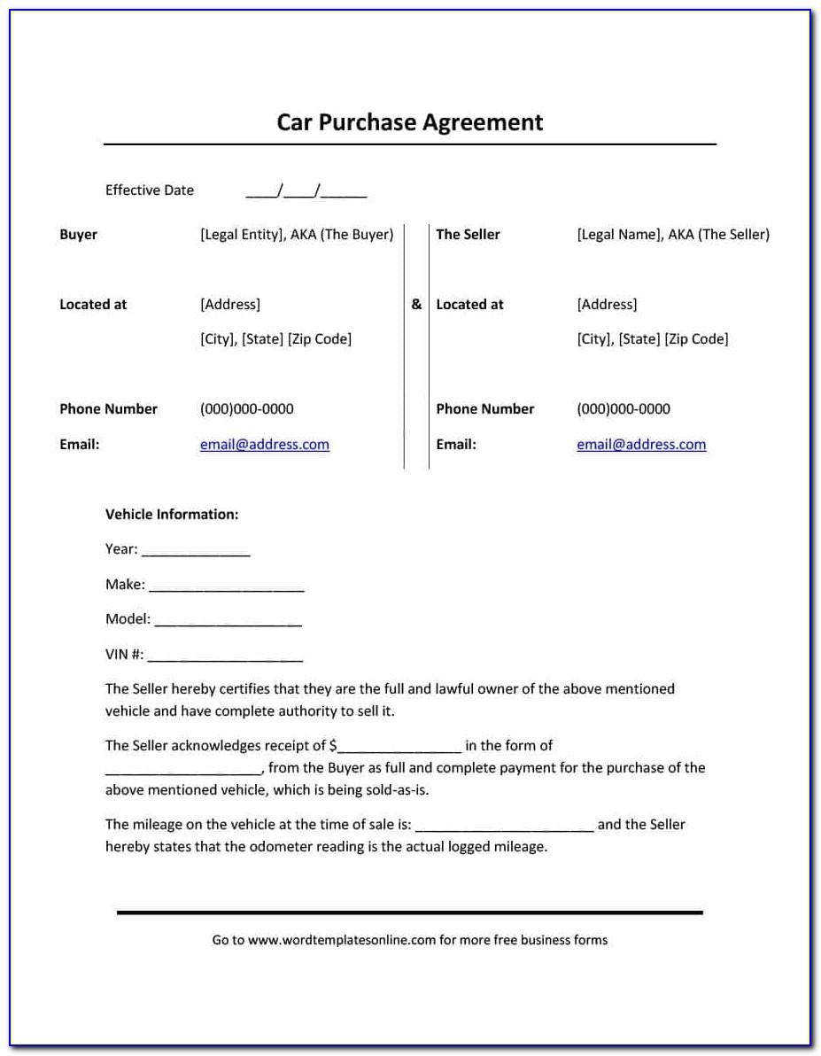 Automobile Purchase Agreement Template