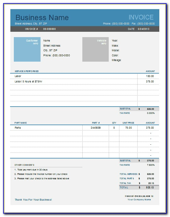 Automotive Repair Invoice Template Excel
