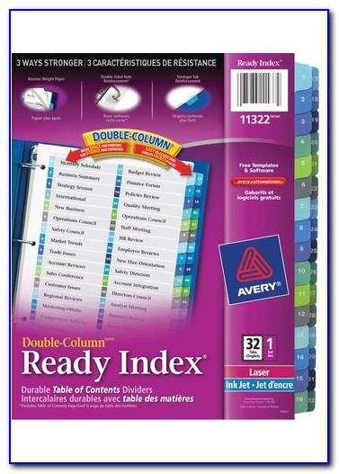 Avery Ready Index Double Column Dividers 32 Tabs Template