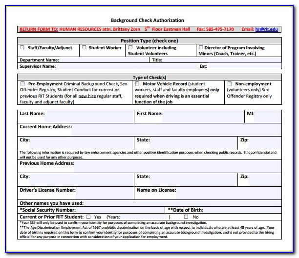 Background Check Consent Form Template