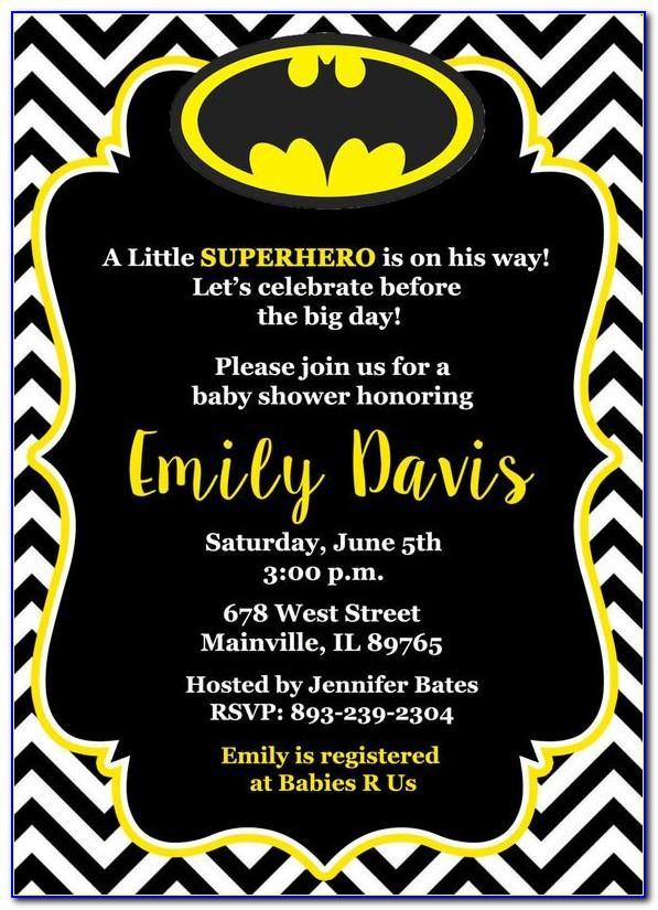 Batman Baby Shower Invitation Templates