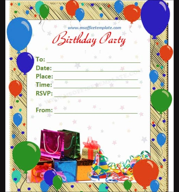Birthday Party Invitation Templates Editable Free