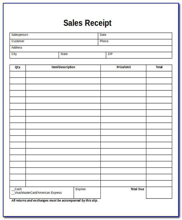 Blank Sales Receipt Template