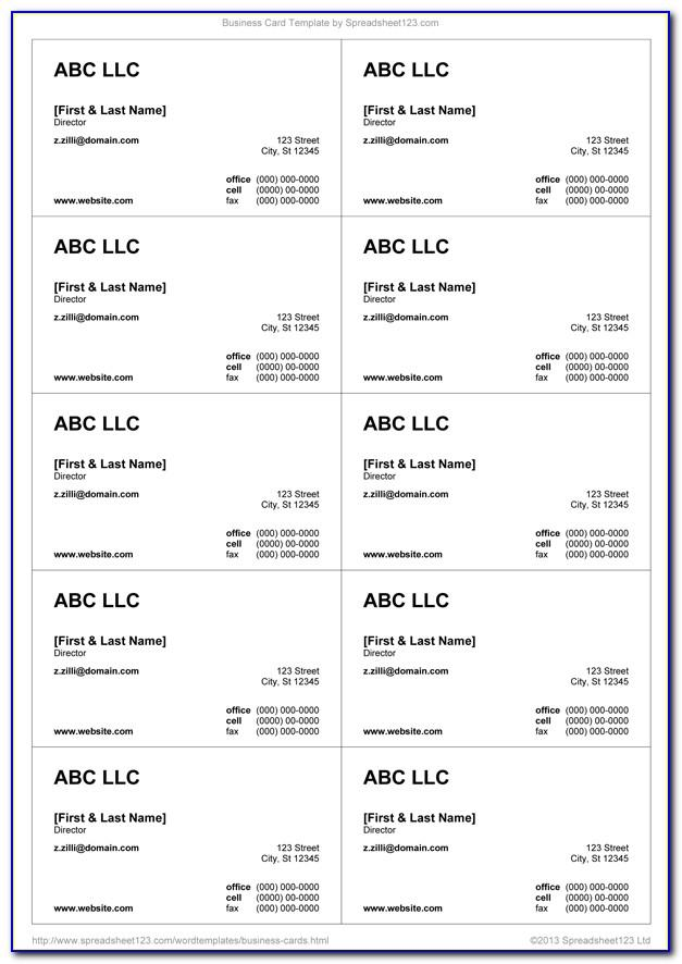 Blank Template For Business Cards Free