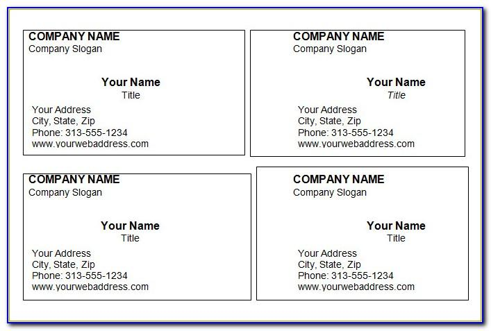 Blank Template For Business Cards In Word