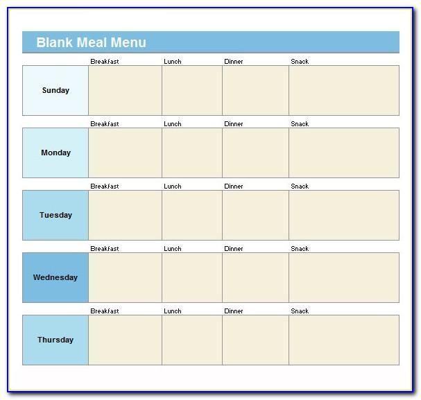 Blank Weekly Menu Template Printable