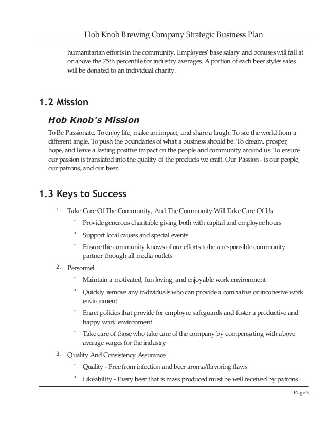 Brewery Business Plan Example