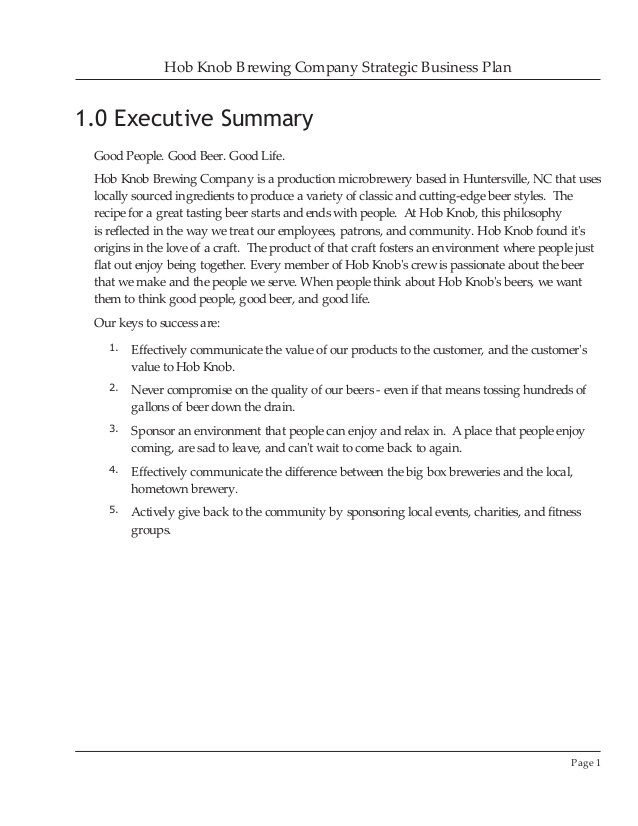 Brewery Business Plan Template Free