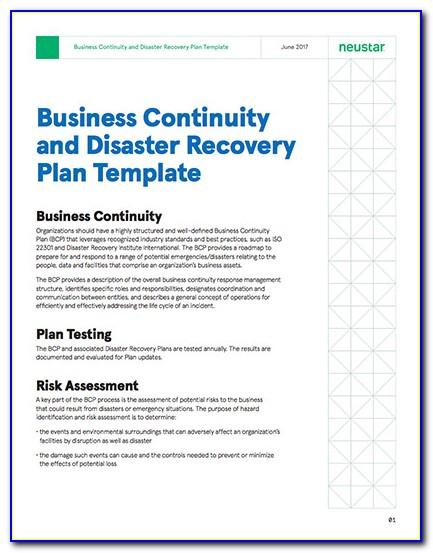 Business Continuity Plan And Disaster Recovery Plan Sample