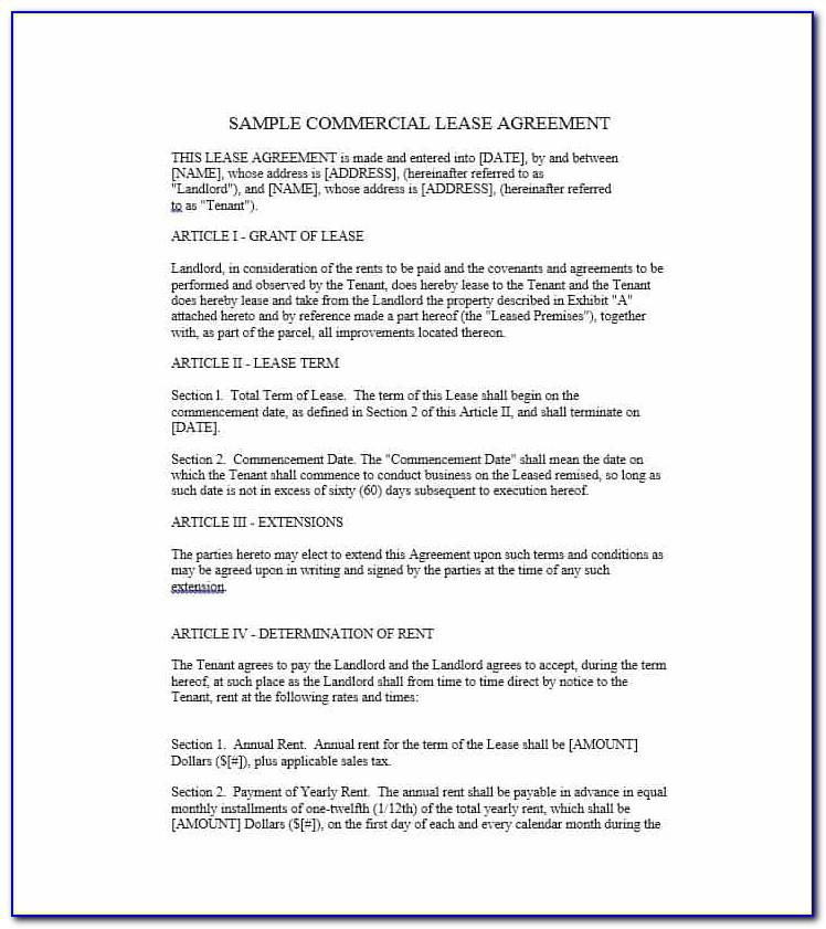 Business Lease Agreement Template Free