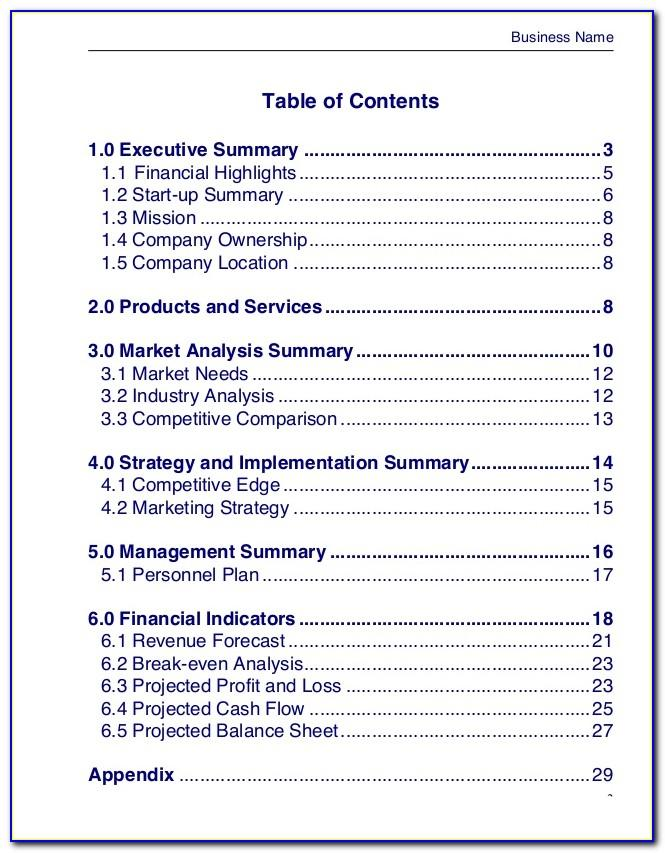 Business Plan Template Free Word Document Canada