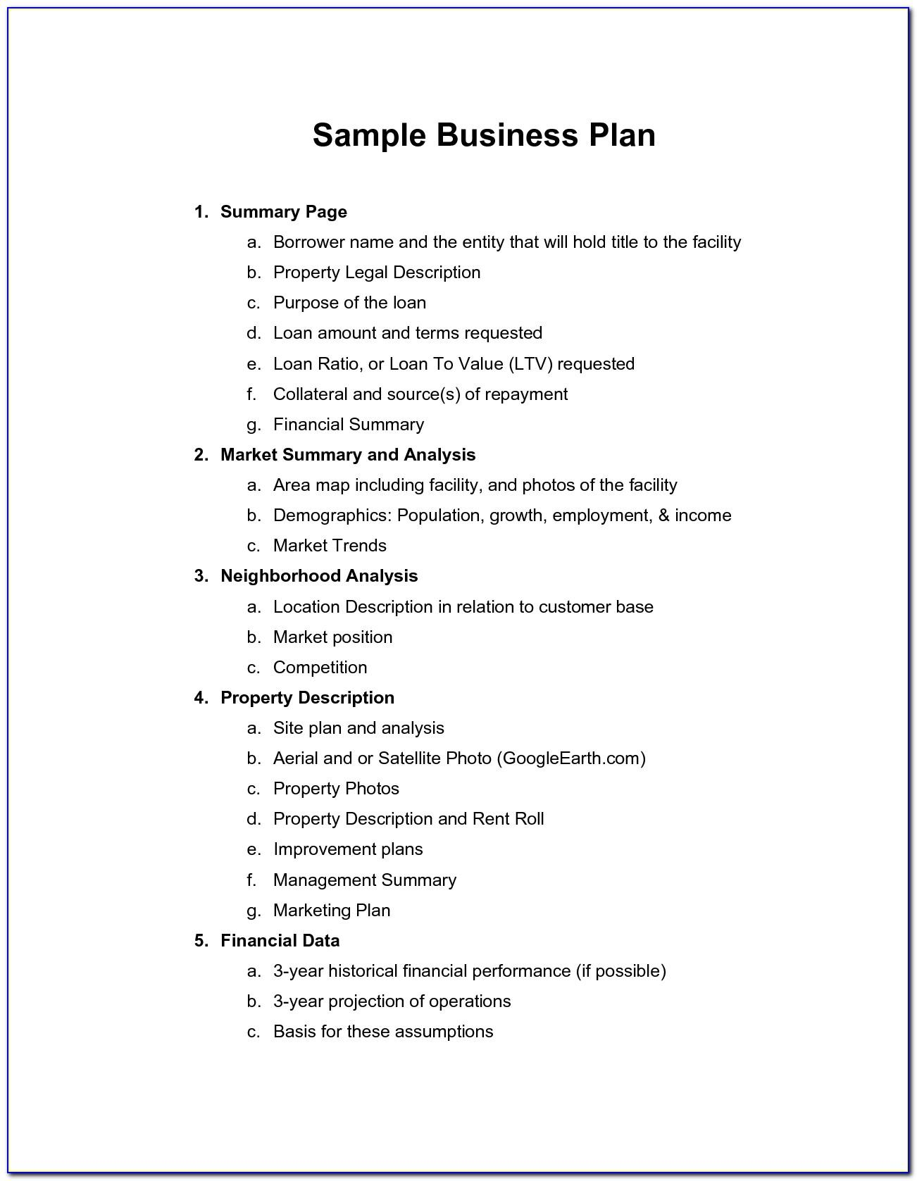 Business Plan Template Word Doc Free Download
