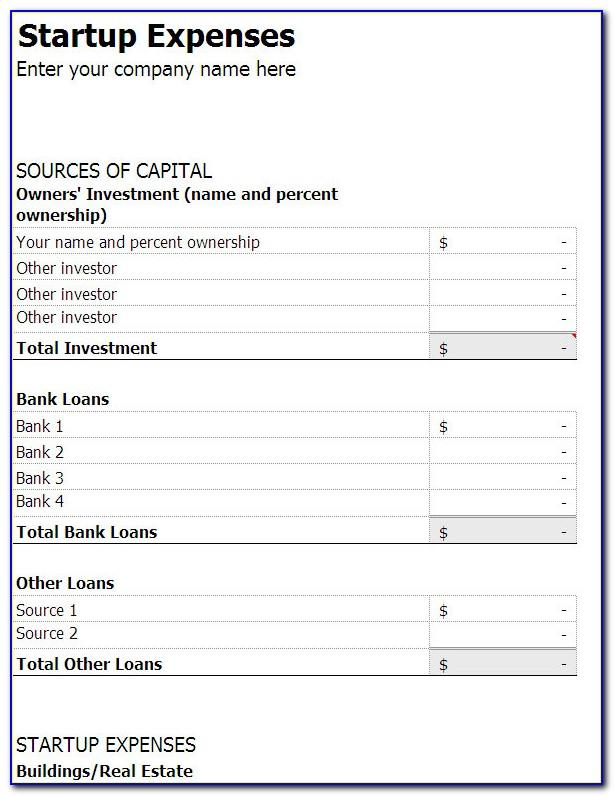 Business Startup Costs Spreadsheet Template