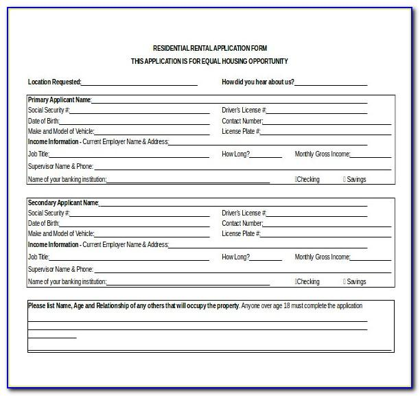 California Rental Application Template Word
