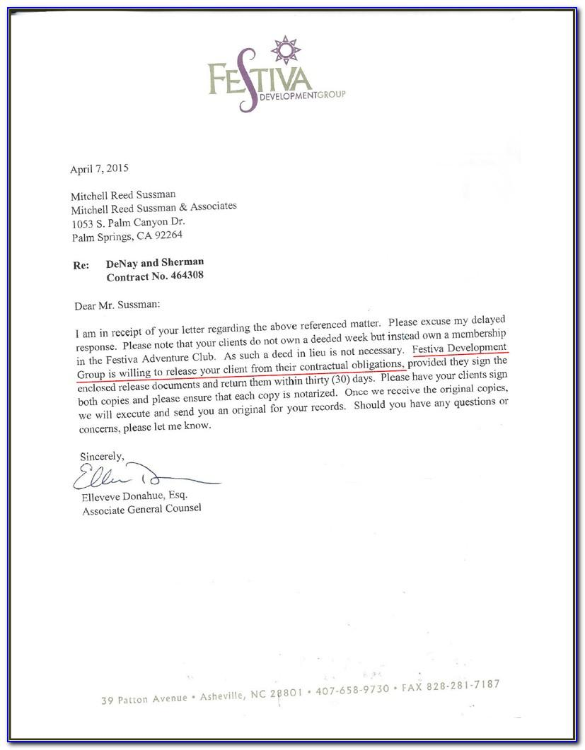 Canceling Timeshare Contract Sample Letter