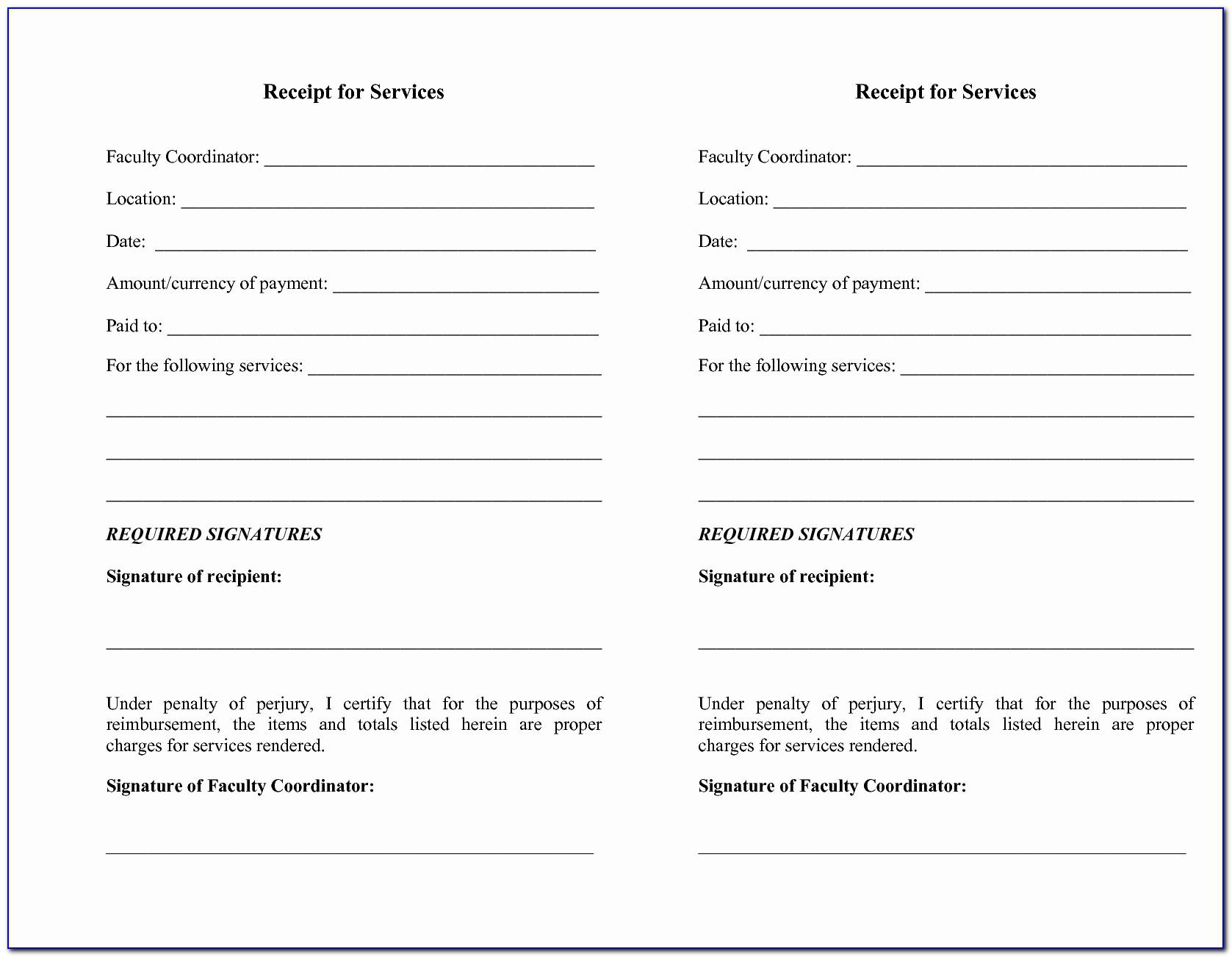 Cash Receipt Template For Services Rendered