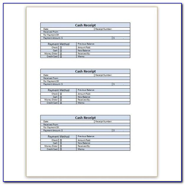 Cash Receipt Template Word Doc Free Download
