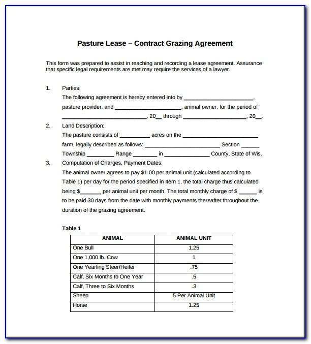 Cattle Grazing Lease Agreement Form